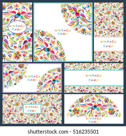 Vector set of artistic creative business cards with Floral Mexican embroidery pattern and ornaments. Hand Drawn textures. Applicable for wedding, anniversary, birthday, Valentine day, party. Design