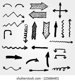 vector set of artistic hand drawn arrows