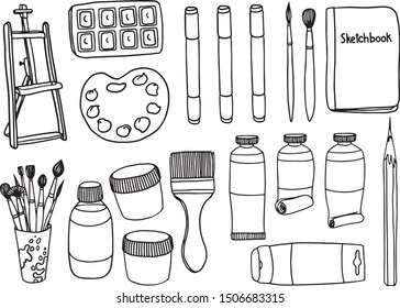 vector set with artistic tools, paints and easel. Hand draw. Vector illustration