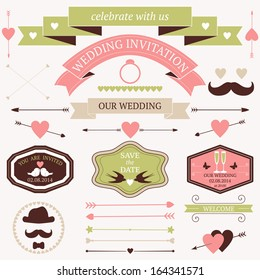 Vector set of artistic wedding design elements and decoration.