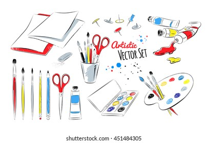 Vector set of artists supplies on white background.