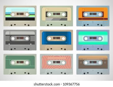 vector set of audio tape cassettes