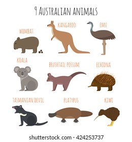Vector set of Australian animals icons. Emu, wombat, kiwi, koala, kangaroo. Flat style.