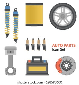 Vector set of auto part flat set on white. Car battery, wheel, filter and automotive spark, clutch and shock absorbers