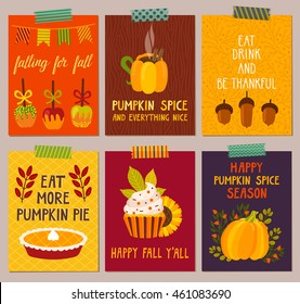 Vector set of autumn backgrounds. Bright cute posters with autumn food and drink: caramel apples, pumpkin pie, cupcake, hot chocolate and hand written text. Dinner invitation template.