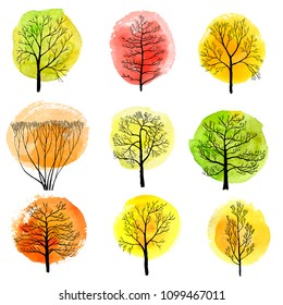 vector set of autumn deciduous trees with watercolor foliage, hand drawn isolated natural elements
