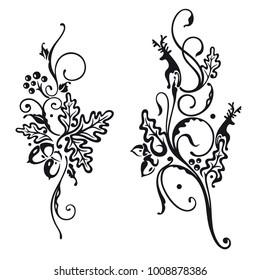 Vector set of autumn designs. Deer and oak leaves.