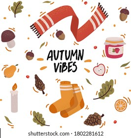 Vector set of autumn icons with acorns, cones, falling leaves and lettering. Scrapbook collection of fall season elements. Autumn greeting card