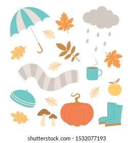 vector set of autumn icons, falling leaves, cup coffe, pumpkin, wellies, mushroom, cap, scarf and cloud, autumn greeting card