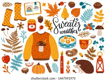 Vector set of autumn icons: sweater, falling leaves, cozy food, candles, book and cute hendgehog. Scrapbook collection of fall season elements. Bright background for harvest time. Autumn greeting card