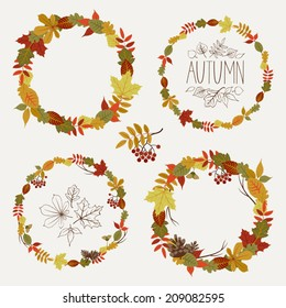 Vector set of autumn leaves round frames | Collection of fall themed circle shaped frames with design elements featuring leaves, rowan berries, acorns and pine cones