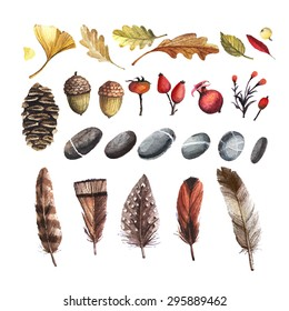 Vector set of autumn nature elements in a watercolor style. Feathers, stones, berries, acorns, leaves painted in watercolor.