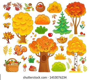 Vector set with autumn trees and forest animals. Collection of autumn trees and cute mammals.