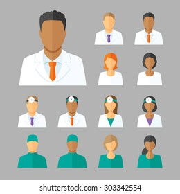 Vector set of avatars or characters of different medical stuff such as general doctor, therapist, surgeon and otolaryngologist