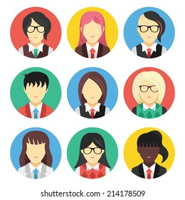 Vector set of avatars flat icons. Creative modern design style female avatars faces concept. Isolated on white background.