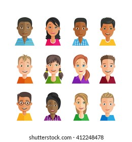 Vector set of avatars. Multiethnic, many nationalities, male and female. Young people with emotions on the faces.  Flat design style