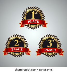 Vector set of Award label golden colored with laurel wreath and red ribbon. First, second and third places, isolated on shiny background.