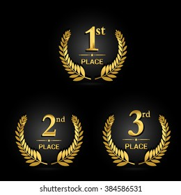 Vector set of Award label golden trophy with laurel wreath. First, second and third places, isolated on shiny background.