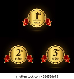 Vector set of Award label golden emblem with red ribbon. First, second and third places.