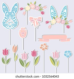 Vector set for Baby birthay. Bunny, floral wreath, bunny ears, flowers as cake toppers or stickers isolated on background. Design elements for Sweet Bunny Party.
