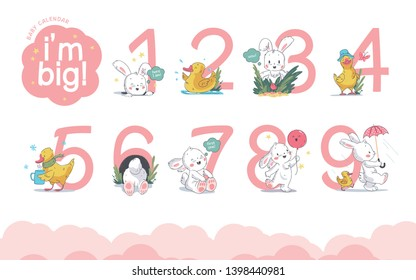 Vector set of baby calendar numerals/numbers with cute little bunny & duck walk, smile, sit isolated on white background. Hand drawn style. For baby shower & hb card, invitations baby calendar design.