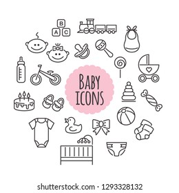Vector set of baby icons. Flat style signs