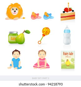 Vector set: Baby icons. Isolated on white background baby stuff (toys, food, book, doll, and birthday cake)
