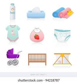 Vector set: Baby icons (newborn). Isolated on white background baby stuff (bath things, diaper, clothes, carriage)