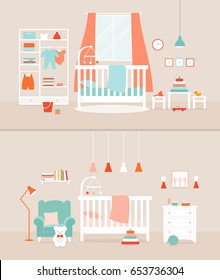 Vector set of baby rooms. Bedroom for girl and boy