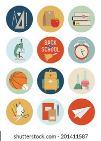 Vector set of back to school icons