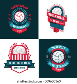 vector Set Badges logos volleyball teams and tournaments, championships volleyball. isolated on white Background