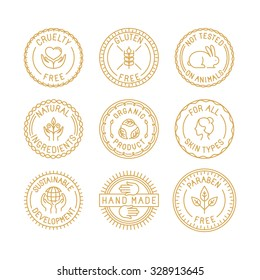 Vector set of badges for natural and organic cosmetics for packaging - cruelty free, gluten free, not tested on animals, natural ingredients, organic products, sustainable development