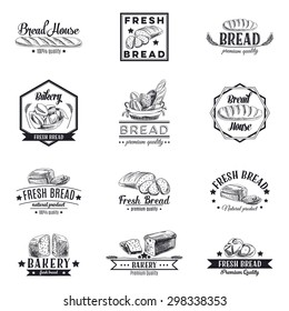 Vector set of bakery and bread logos, labels, badges and design elements. Retro.Vintage.