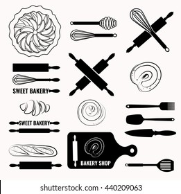 Vector set of bakery icons.