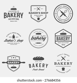 vector set of bakery labels, badges and design elements