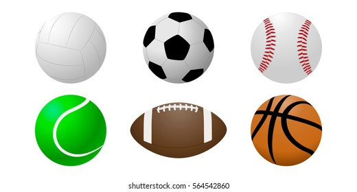 Vector set of balls on a white background.Icons volleyball,soccer,baseball,tennis,American football,basketball.