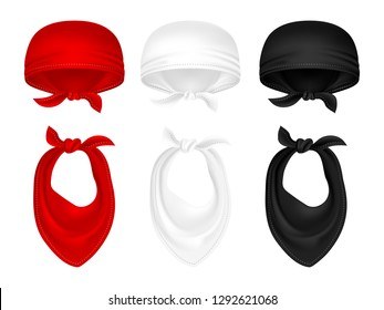 Vector set of bandanas and neck scarves isolated on white background