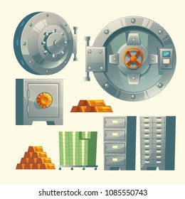 Vector set of bank vault, metallic iron safe door. Gold, cash, currency for financial concept, business template. Storage gate with electronical lock.