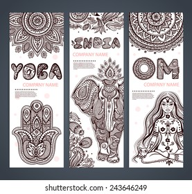 Vector set of banners with ethnic and yoga symbols for your business