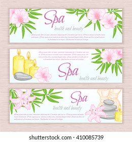 vector set of banners with hand drawn spa and massage accessories - stones, flowers, candles, herbal balls. Can be used as invitation flyer or advertising brochure design.