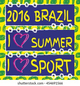 Vector set of banners. Hand drawn. I love sport. I love summer. Ipanema pattern. Summer 2016. Brazil 2016