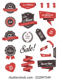 Vector set of banners labels ribbons and stickers