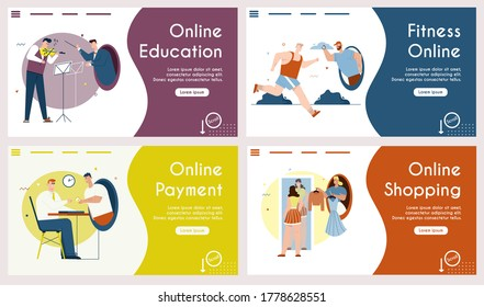 Vector set banners of online education, fitness, payment, shopping. Violinist and conductor play music. Athlete trains running with trainer. Personal fashion stylist chooses outfits. Buyer pays online