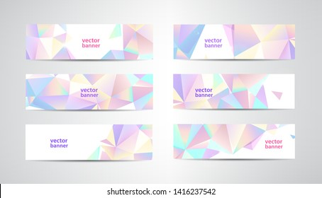 Vector Set of banners with polygonal geometric background, facet, low poly, traingles headers, covers. Pastel colors