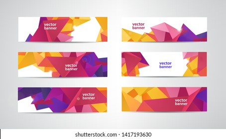 Vector Set of banners with polygonal geometric background, facet, low poly, traingles headers, covers