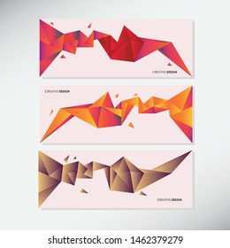 Vector Set of banners with polygonal geometric background, facet, low poly, traingles headers, covers 3d crystal colorful shapes