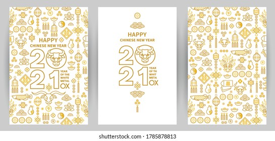 Vector set with banners, posters, cards with a illustration of the Ox Zodiac sign, Symbol of 2021 on the Chinese calendar, isolated. White Metal Ox, Bull, Chine pattern. New Year's Chinese element.