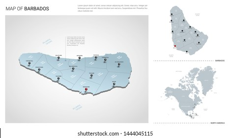 Vector set of Barbados country.  Isometric 3d map, Barbados map, North America map - with region, state names and city names.
