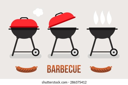 Vector set of barbecue and grill