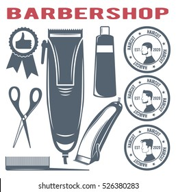 Vector set of barber shop, the quality, the icon barber hair clippers, logos for beauty salon